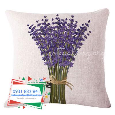 gối lưng GTL hoa lavender mặt trước
